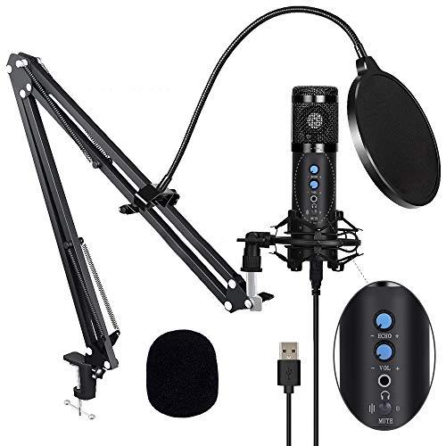 USB Mikrofon, Kondensator Mikrofon Kit mit One Touch Stummschaltung & Mikrofonständer Mikrofonarm Popschutz für Aufnahmen, Podcast, Rundfunk, Gaming, Livestream auf YouTube und Facebook (Schwarz)