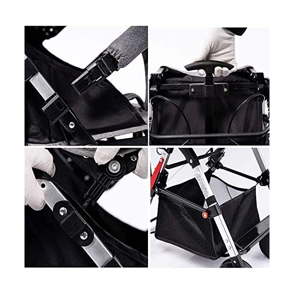 LAMTON High Landscape Easy Folding Baby Light Jogging Detachable Four Season Baby Stroller, Suitable for 0-36 Months Baby Can Withstand 55PL LAMTON This high-view stroller is made of linen and breathable. The frame is made of aerospace aluminum to make the body lighter, more stable and safer. The awning can be adjusted at any angle to cope with all kinds of weather. The awning is equipped with a back pocket for parents to store items they carry with them, such as mobile phones and car keys. The tires use EVA solid foam wheels to avoid problems with aeration and puncture. The rear wheels are equipped with brakes, front wheel suspension and 360° steering for a variety of roads. 5