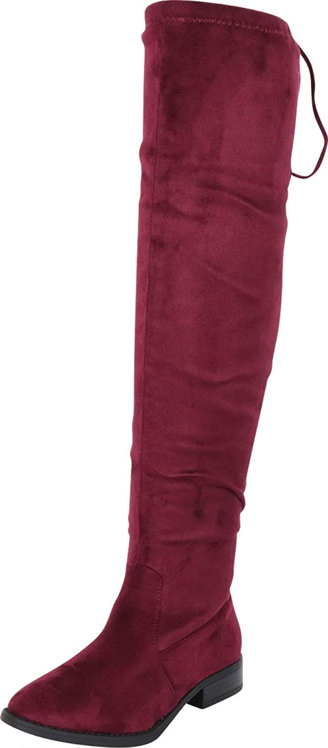 Cambridge Select Women's Thigh-High Round Toe Drawstring Low Heel Over The Knee Boot