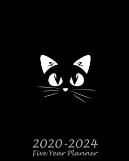 2020-2024 Five Year Planner: Black Cat Monthly Calendar Schedule Organizer (60 Months) For The Next Five Years With Holidays and inspirational Quotes