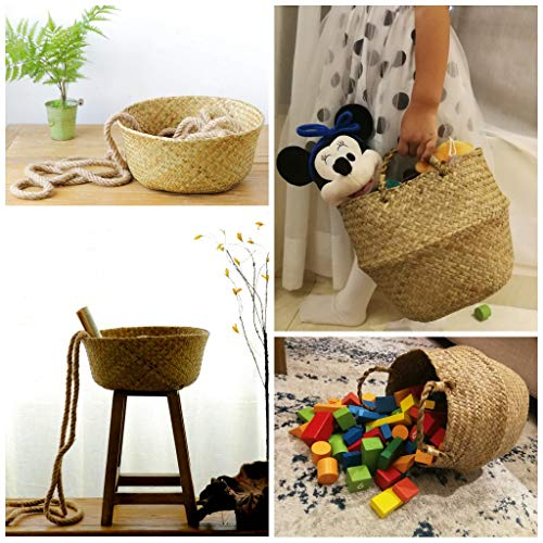 """Large Woven Seagrass Belly Basket for Plant, Picnic, Toy Organization, 12"""" Diameter x 14"""" Height"""