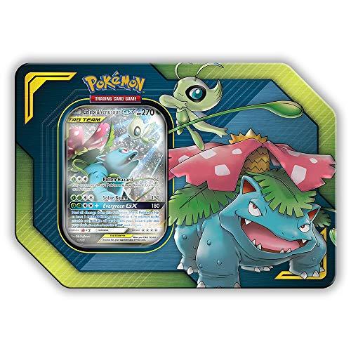 Pokemon Tag Team Tin Celebi & Venusaur-GX- TCG: Sun & Moon Box- 4 Booster Packs | 1 Foil Art Celebi & Venusaur-GX Foil Card