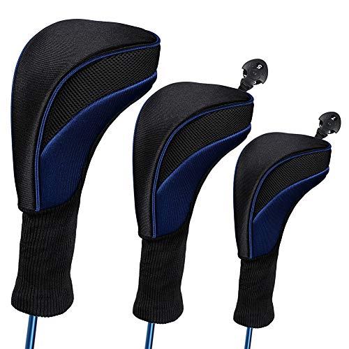 Jorzer Golf Club Kopfabdeckungen 3-teiliges Set, 1 3 5 Fahrer Und Fairway Woods Headcovers Long Neck 1680d Knit Kopfabdeckungen Für Golf Club Fits All Fairway and Driver Clubs, Blau
