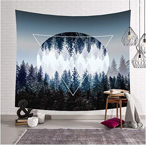 Wald Bäume Sterne Sternenhimmel Stoff Wandteppich, Dekoration, Vorhänge, lang, Tischdecke, Strandtuch, 150 x 200 cm