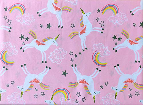 Max Studio Kids 3 Piece Twin Sheet Set Rainbows Unicorns Stars Clouds on a Hot Pink Background