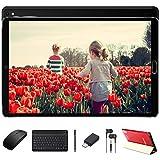 Tablet 10 Pulgadas Android 10 Pro con Procesador Octa-Core Núcleos 1.6GHz 4GB RAM + 64GB ROM Batería 8000mAh | Cámara Dual 5MP + 8 MP | WiFi | Bluetooth | MicroSD 4-128GB, con Teclado y Ratón, Negro