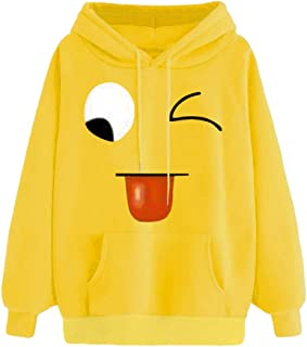 Autumn Winter Womens Face-Emoticon Print Hooded Sweatshirt Long Sleeve Tops Blouse with Pocket