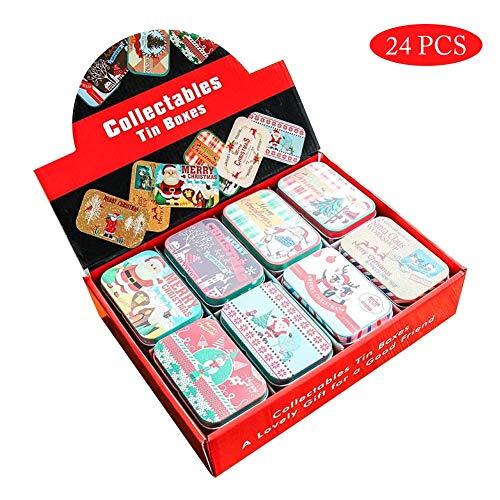 24PCS Latas De Galletas Caja De Dulces Caja De Regalo Caja Para Bombones De Navidad Reutilizable Con Tapas, Caja De Almacenamiento Multipropósito Latas Vacías Para Pastillas, Galletas, Dulces, Joyas,
