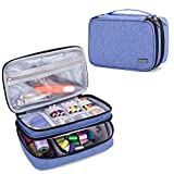 Luxja Sewing Accessories Organizer, Double-Layer Sewing Supplies Organizer for Needles, Scissors, Measuring Tape, Thread and Other Sewing Tools (NO Accessories Included), Dark Blue
