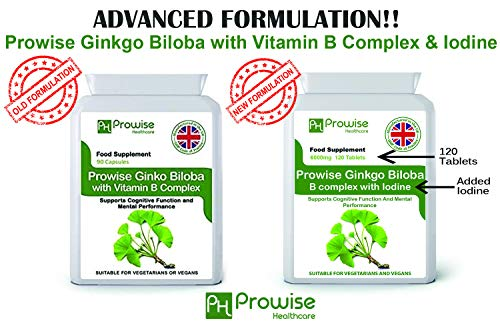 Ginkgo Biloba 6000mg con complejo de vitamina B y yodo 120 tabletas I Apoya la función cognitiva y el rendimiento mental I Reino Unido Fabricado según el código de prácticas GMP por Prowise Healthcare
