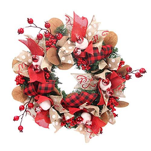 Corona de Navidad de Coil-C, corona de Navidad, 40 cm, bolas de Navidad de color oro rosa, corona de Navidad con adornos de bola de abeto