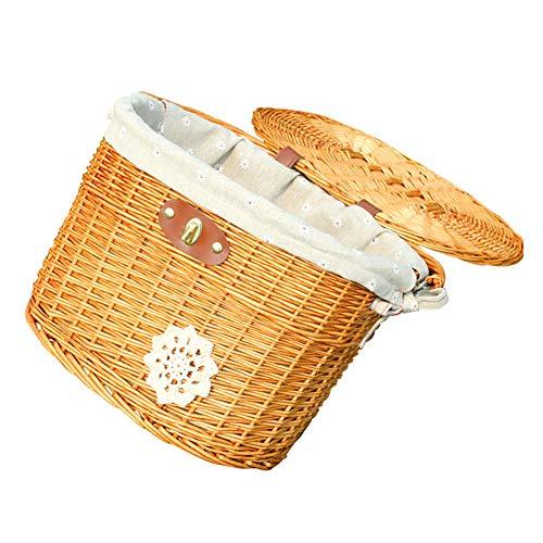 ZICOCO Bike Picnic Basket, Bicycle Basket, Wood Picnic Basket, Outdoor Bike Basket with Lid and Large Storage Space