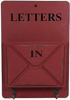 HERCHR Boîte aux Lettres en Bois avec Crochets à clés, Porte-clés Mural rétro Porte-courrier Organisateur décoration Mural...