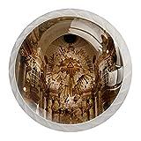 Yumansis Perillas de Armario de Muebles de 4 Piezas Iglesia Charles Boromeo Perillas Escritorio Perillas Vintage Decorar Cajones Cómoda Armario 35x28x17mm