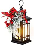 14' Christmas Flameless Flickering Candle Lantern Decorative for Outside Outdoor Indoor Patio Table Party, Black Hanging Lanterns Battery Operated with Red Bow