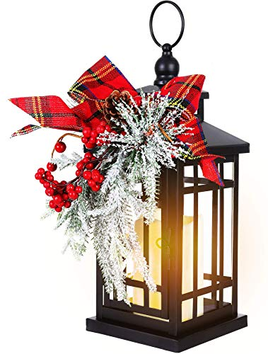 """14"""" Christmas Flameless Flickering Candle Lantern Decorative for Outside Outdoor Indoor Patio Table Party, Black Hanging Lanterns Battery Operated with Red Bow"""