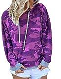 BOUYDM Mujer Sudadera con Capucha Manga Larga de Algodón Estampado Camuflaje Suéter Encapuchado Camiseta Tops Pullover Morado L