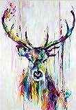 Acuarela Animales Lienzo Arte Pinturas de pared Elefante y ciervo Graffiti abstracto Arte Impresiones Pop Art Carteles de pared para habitación de niños