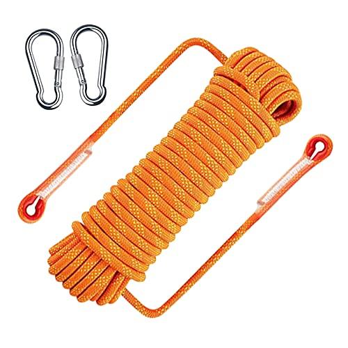 Corda da arrampicata per esterni, 2 moschettoni, corda ad alta resistenza con diametro di 8 mm, corda di sicurezza in nylon intrecciato lunghezza 10 m, per attività all'aria aperta, escursioni