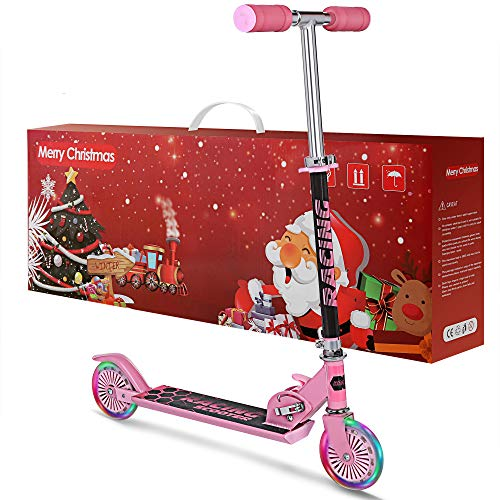 WeSkate Scooter Kinder Roller Cityroller Kick Scooter klappbar mit LED