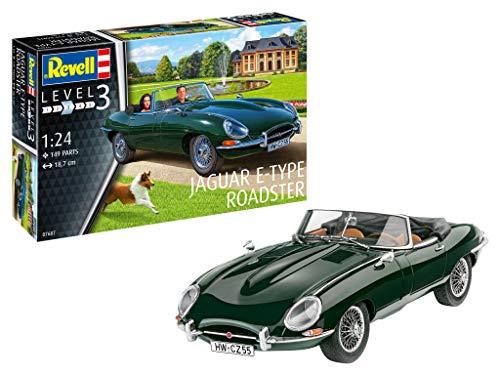 Revell 07687 Jaguar E-Type Roadster, Echte Männer Bauen Ihre Autos selbst, Automodellbausatz 1:24, 18,7 cm originalgetreuer Modellbausatz für Einsteiger, unlackiert