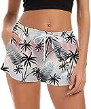 crazy bean Donna Pantaloncini da Bagno Pantaloncini da Spiaggia 3D Stampati Elastico Sportivi con Coulisse Regolabile Nuoto Tronchi Spiaggia Asciugatura Rapida Estate Surf Pantaloncini (Stile Hawaii)