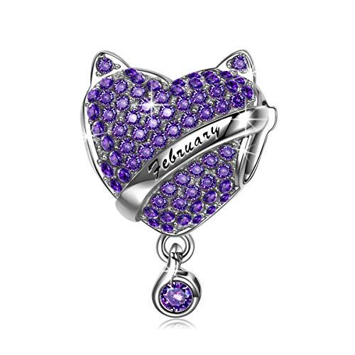 NINAQUEEN Charm für Pandora Charms Armband Geburtsstein Februar Amethyst Geschenk für Frauen Silber 925 Zirkonia Schmuck Damen mit Schmuckkasten