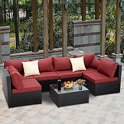 U-MAX 7-Piece Wicker Outdoor Patio Sectional Furniture Set Rattan Patio Conversation Furniture Sets Wicker Sofa Set with Red Cushion for Porch Garden Poolside with Coffee Table, Black(Red Cushion)