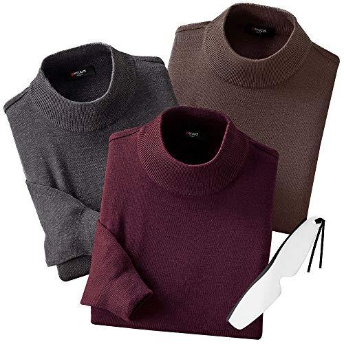 (ピエルッチ)pierucci ウール混 ハイネックセーター 3色組 75110 しおり型ルーペ付き (M)