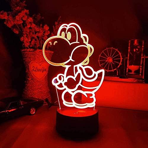 3D anime ilusión lámpara LED noche luz juego clásico figura Yoshi para niños decoración de habitación fresco regalo de cumpleaños niños lámpara de noche niños D'Holiday regalos de cumpleaños