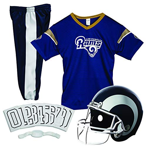 Franklin Sports L.A. Rams Kids Football Uniform Set - NFL Youth Football Costume for Boys & Girls - Set Includes Helmet, Jersey & Pants - Small
