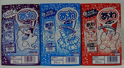 コリス あわ3種類セット コーラ・ソーダ・グレープ各1箱合計3箱  Newパッケージタイプ