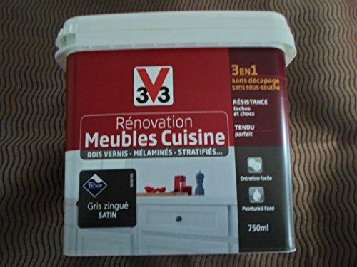Peinture Rénovation Meubles de Cuisine Gris Zingué satin 0.75 L