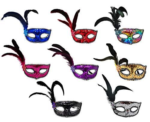 Pack 8 de Mscara de Carnaval de Pluma Colombina, Antifaz Veneciana con Brillantina y Plumas Suaves, Disfraz de Fiesta