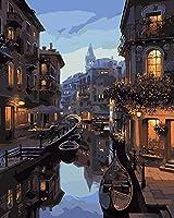 番号によるDiyペイント番号によるヴェネツィアの夜景番号付きキットの絵画による大人の子供たち初心者の油絵番号によるキットの絵画による家の装飾