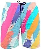 Asylvain Men's Colorful Shorts 3D Graphic Paint Rainbow Design...
