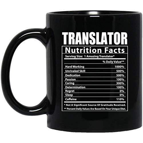Funny Translator Nutritional Facts Black Coffee Mug 11oz