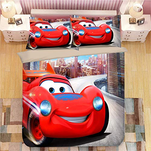 Snoevpar Bedding Sets Duvet Cover Set 3 Piece, Polyester Microfiber Cartoon Anime Car 135 * 200Cm Duvet Cover Set With Zipper Closure, 3 Pieces Bedding Sets (1 Duvet Cover + 2 Pillow Shams)