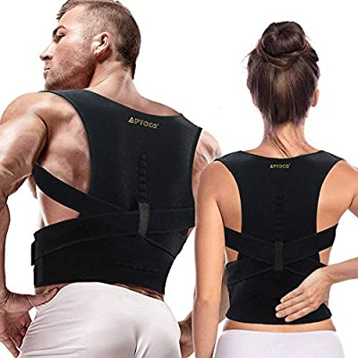 Full Back Support Posture Corrector for Men and Women- Adjustable Medical Posture Brace Provides Lumbar & Back Support for Shoulder, Clavicle, Lower and Upper Back (New S/M (Waist 26-38.5 in)) from Aptoco