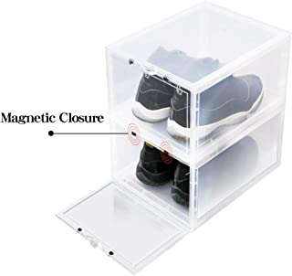 LifestyleEssential - Drop Front Shoe Box - Shoe Storage Container - Acrylic Sneaker Box - Shoe Bin - Foldable - Stackable - Clear - for Men Women - 2 Boxes Each Package