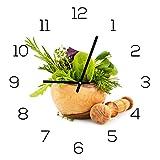 levandeo Wanduhr aus Glas 30x30cm Uhr als Glasbild Küche Kräuter Gewürze Kochen Deko