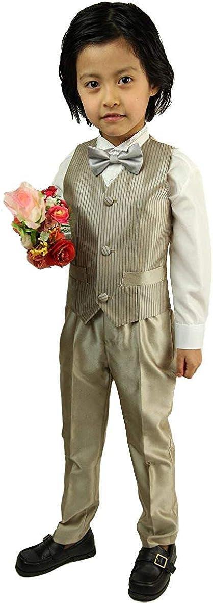 Wonder Stage Boy's 3 Piece Casual Dress Suit Set with Vest Pants and Bowtie