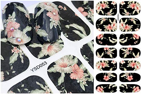 SRTYH Autocollant d'ongle Nail Sticker Letter Flower Designs Water Transfer Decals Sets Nail Art Decor Beauty Tips Make your nails beautiful-A