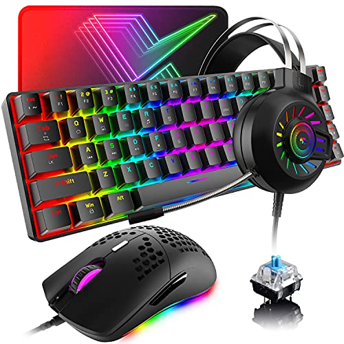 60% Mechanical Gaming Keyboard and Mouse and Mouse pad and Gaming Headset,4 in 1 Wired 68 Keys LED RGB Backlight Bundle for PC Gamers,Xbox,PS4 Users (Black/Blue Switch)