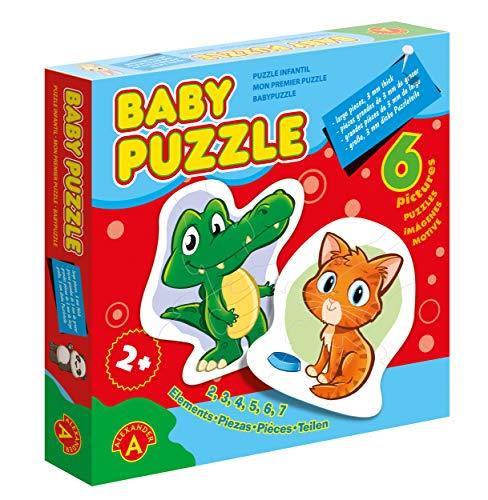 A Alexander 1756 Baby Croco & Freunde, 6 Kinderpuzzle mit 27 Puzzleteilen aus 3 mm Karton, Puzzlebox mit Tier Motiven, Motorik Puzzles Legespiel, Legepuzzle für kleine Kinder ab 2 Jahre