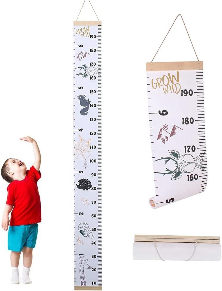 Tabla de Altura de La Pared, Tabla de Crecimiento Del Bebé, Tabla de Altura para Niños, Lienzo y Madera Retirable Linda Colgar En La Pared Portátil Tabla de Crecimiento para Bebés, Niños, Niñas