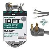 3 Prong Dryer Cord - 10 Ft Extension Power Cord, 10/3 SRDT, 30 Amp, NEMA 10-30 Plug, Gray