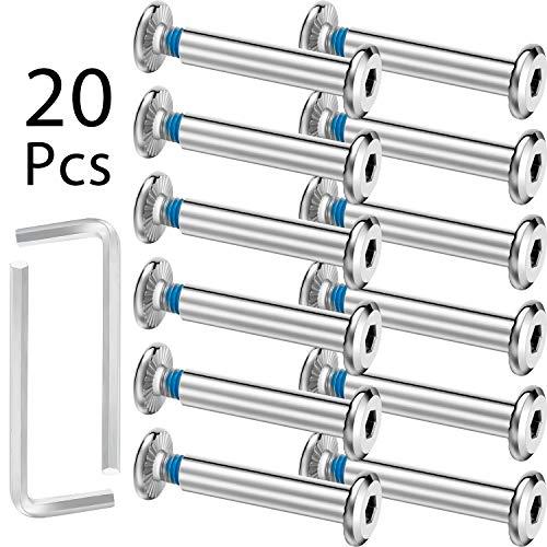 HOTOP 20 Juegos de Tornillos de Vaso de Patín Tornillos de Patines en Línea Tornillo Hexagonal de Eje con 2 Piezas de Herramienta de Instalación