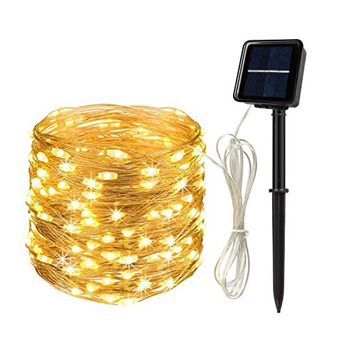 Solar String Lights Outdoor, 65.6 Ft 200 Led Solar Powered Solar Fairy Lights Outdoor with 8 Modes Waterproof Decoration Copper Wire Lights for Patio Yard Trees Christmas Wedding Party (Warm White)
