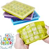 Ice Cube Trays, 3 Pack Silicone Ice Tray with Lid, Easy Release and Flexible Ice Cube Molds, LFGB Certified and BPA Free, 24 Cubes